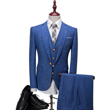 New Blue Herringbone Retro gentleman style custom made Men's suits tailor suit Blazer suits for men 3 piece (Jacket+Pants+Vest)