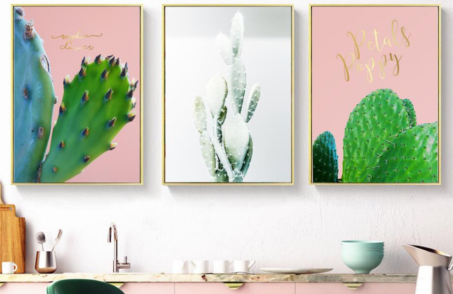 christmas decorations for home 2017 Cute cactus living room decoration painting pink+green Canvas module painting wall no framed