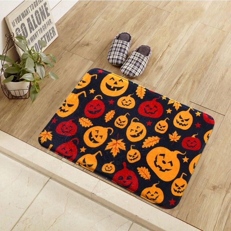 happy halloween printed room mats bathroom kitchen carpets welcome floor carpet doormats rugs for living room - Halloween Rugs