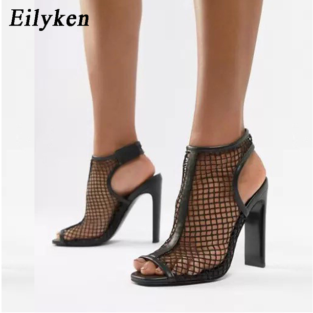 Sandalias de mujer de malla de moda de Eilyken zapatos de tacón alto de Punta abierta de mujer con gancho y lazo de tacón cuadrado sandalias negras