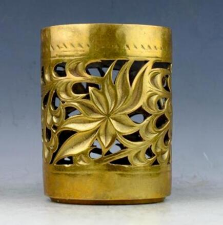 Collectibles Chinese Handmade Brass Statue Lotus Flowers Hollow Out Pen Container Brush Pots Bottle