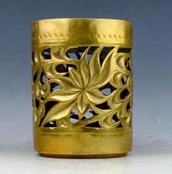 Kolekcje chiński Handmade figurka z mosiądzu kwiaty lotosu drążą pojemnik na długopisy szczotka garnki butelka w Posągi i rzeźby od Dom i ogród na