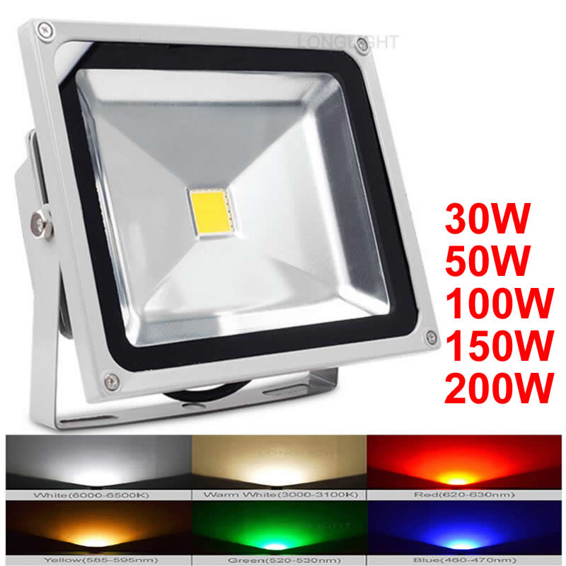 led flood light 30w 50w 100w 150w 200w outdoor lighting 110v 220v 4000k advertising projecteur. Black Bedroom Furniture Sets. Home Design Ideas