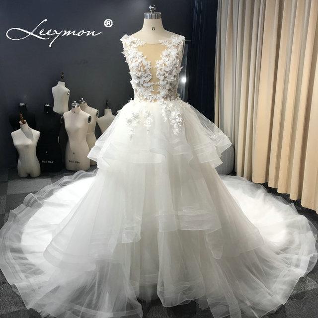 Leeymon งาช้างชุดแต่งงานเซ็กซี่ Illusion Top ไข่มุกชุดลูกยาวแขนกุดแต่งงานชุดเจ้าสาว Robe de mariee