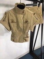 2019 ladies fashion denim suit metal buckle short sleeved blouse + female shorts 2 sets 0416
