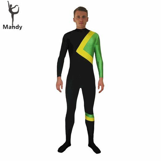 XXXL Adult Spandex Lycra Men's Jamaican Bobsled Team Cool Runnings Costume Unisex Skin-Tight Unitard Zentai Dancewear Hoodless