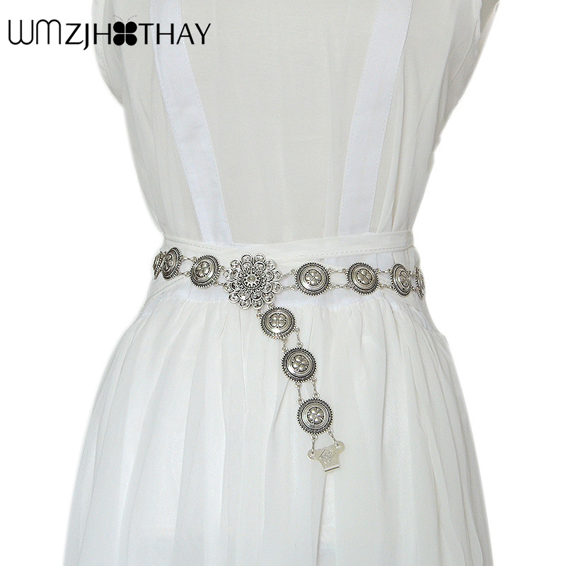 New Hot Vintage Coin Waist Chain Ladies Round Iron Decorative Belly Dance Metal   Belt   For Costumes Jeans Wedding Dress Waistband