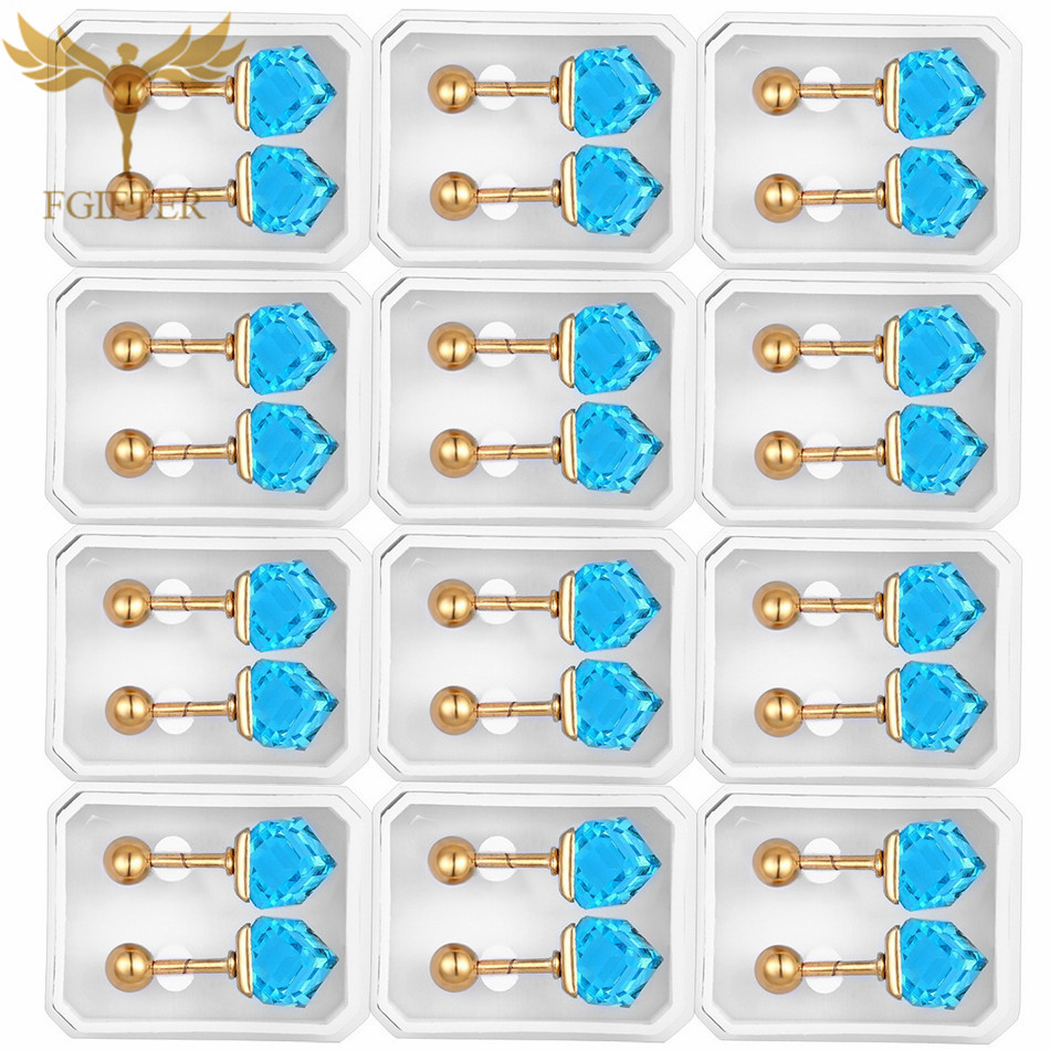 Wholesale Big Cube Crystal Stud Earrings Women Gold Stainless Steel Jewelry Gifts for Woman Ear Piercing Jewelry Accessory