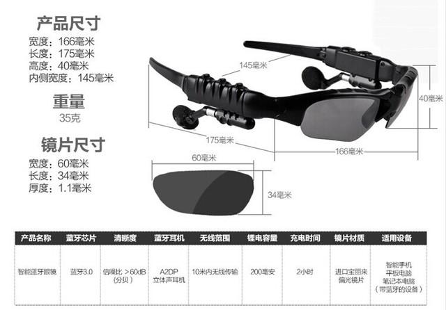 New Sunglasses Sun Glasses Bluetooth Headset Headphones Music Earphone