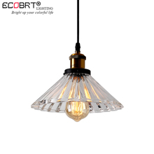 ECOBRT 1-Head Vintage Pendant Lights Clear Glass Lampshade Loft Pendant Lamps E27 for Dinning Room Home Decoration Lighting gzmj country simple glass lampshade wood pendant lights hang lamps for home lighting dinning room aisle bar luminaire suspendu