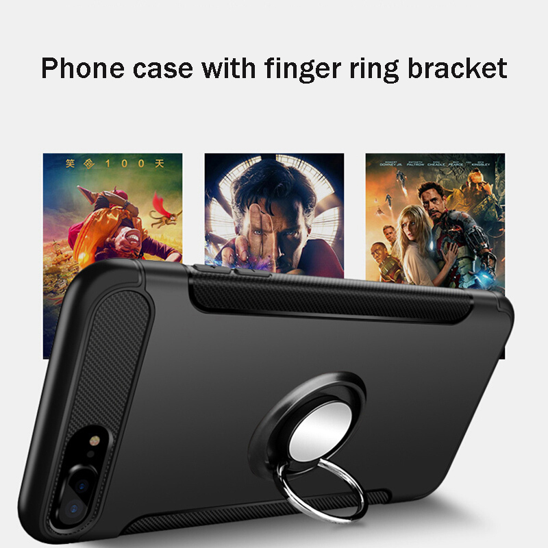 Suntaiho Luxury Shockproof Holder Case for iPhone XS MAX XR Full Cover case for iPhone 7 case X 8 6S 5S Magnetic Ring Phone Case