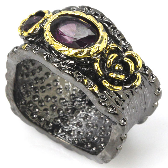 9.0# Sublime Antique Vintage Purple Amethyst Gift For Girls Black Gold Silver Ring 23x13mm