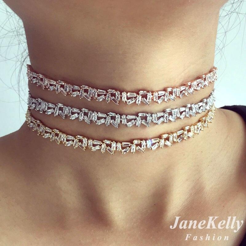 Prix pour Populaire AAA cubique zircone Baguette choker collier pour les Femmes réglable longueur à la mode géométrique sautoirs colliers N608162