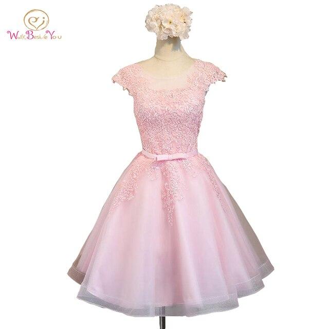 2018 vestidos de cóctel Rosa Champagne Lace Applique Tulle Ball Gown ...