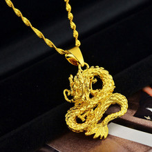 Pure Gold Color Necklaces for Women Wedding Bridal Jewelry Dragon Pendant Necklace Collier 18inch Waterwave Chain Choker Bijoux(China)