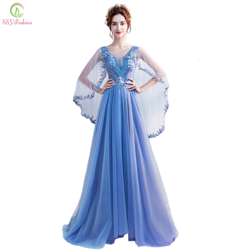 SSYFashion New Lace Flower   Evening     Dress   Bride Banquet Sweet Blue Appliques V-neck Cape Sleeves Floor-length Formal Party Gown