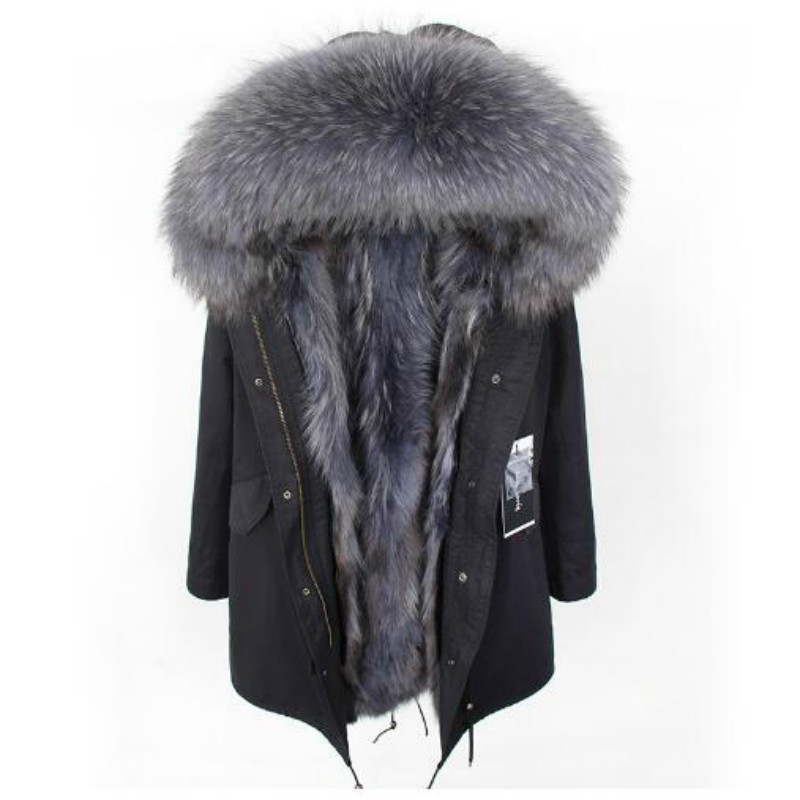 2018 fashion winter new Natural raccoon fur lined jacket coat big raccoon fur collar black gray park thick warm coat