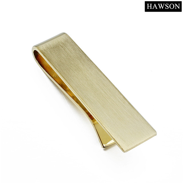 Short matte silver tie clip