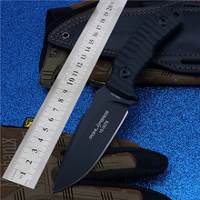 Hunting D2 Outdoor Camping With Small Straight Cutting Tool Self-defense Wilderness Survival Mountain High Hardness Black Knife