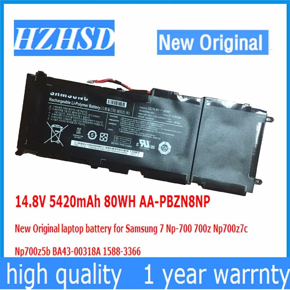 14.8V 5420mAh 80WH AA-PBZN8NP New Original Laptop Battery For Samsung 7 Np-700 700z Np700z7c  Np700z5b BA43-00318A 1588-3366