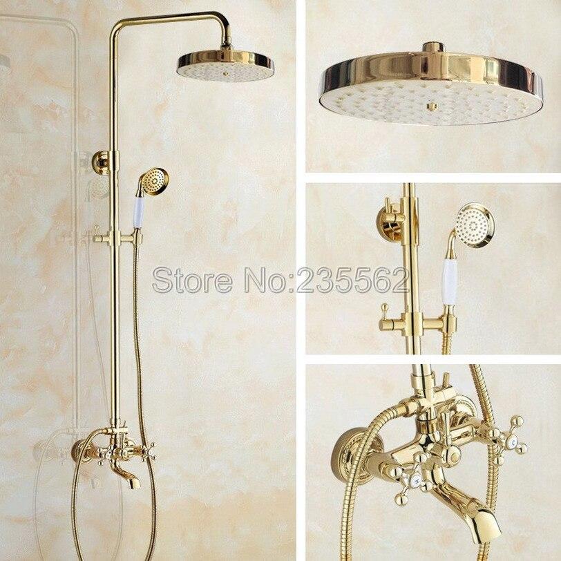 Gold Color Brass Bathroom Luxury Rain Hand Shower System Head Tub Spout Mixer Tap with Ceramic Handheld Spray lgf355