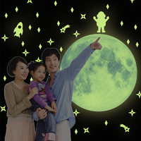 Glow In The Dark Full Moon The Stars Luminous Moon Wall Stickers Living Room Mural Decal
