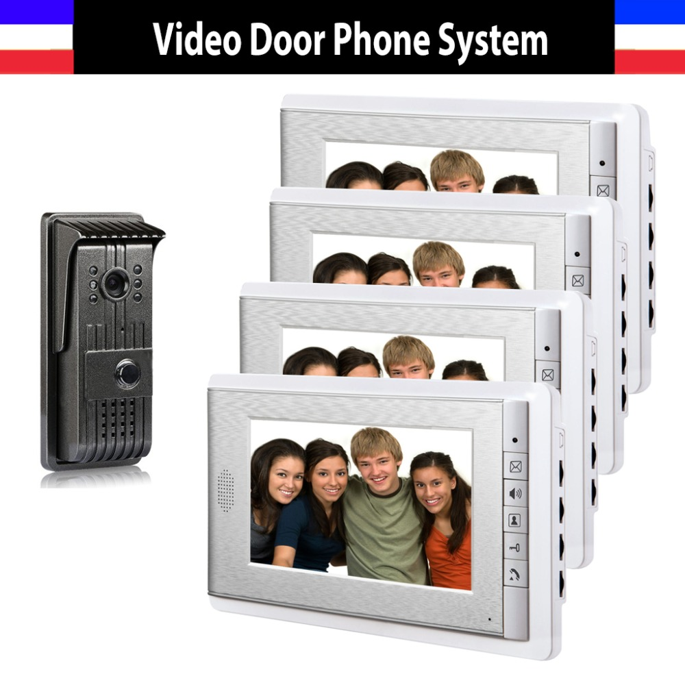 New 1 Camera 4 Monitor 7 Inch Video Door Phone Intercom Doorbell Night Vision Color Wired System