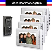 New 1 Camera 4 Monitor 7 Inch Video Door Phone Intercom Doorbell Night Vision Color Wired Video Door Phone Intercom System