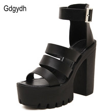 Gdgydh 2017 New Summer Shoes Women White Open Toe Button Belt Thick Heel Wedges Platform Shoes