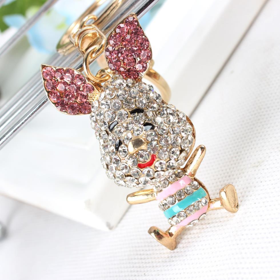 Lovely Pig Ear Keyring New Fashion Cute Rhinestone Crystal Charm Purse Bag Car Key Chain Gift Dazzlingly Beautiful Animal