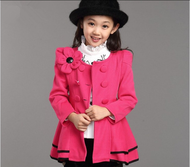 Girl coat 2017 spring children flowers coat  kids 10-13 year old girls clothes teenage girl outerwear toddler baby girl jacket