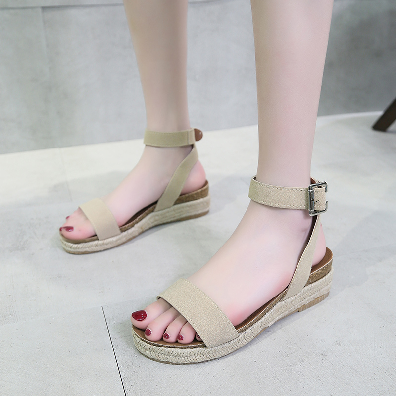 2019 Summer Wedge Espadrilles Women Sandals Sexy Leopard Platform Gladiator Sandals Open Toe Flat Heel Sandles Sandalia Feminina in Middle Heels from Shoes