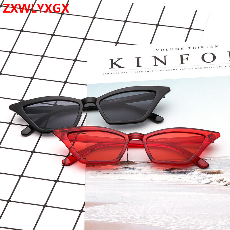 ZXWLYXGX Sunglasses Women Cat-Eye Retro Transparent Colorful Fashion Brand Design UV400