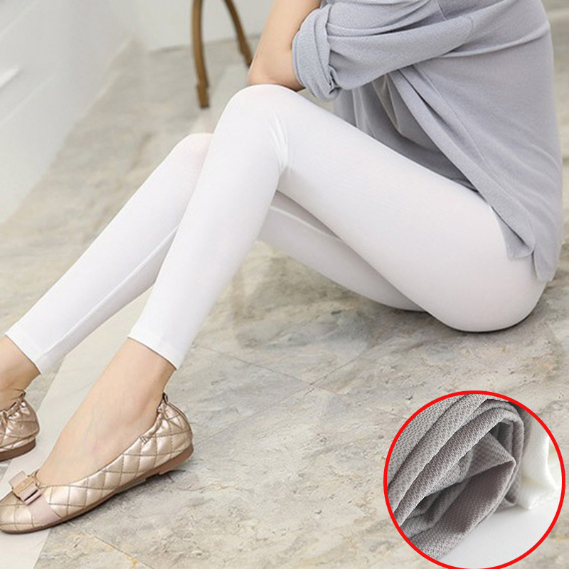 Yesello Summer Women Ice Silk Trousers Smooth Seamless White Soft Elastic Leggings Ankle Lenth Pencil Pants Erotic Capris Брюки