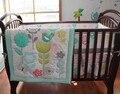 7 pcs berço cama definir 100% algodão bordado girassol borboleta pássaro da flor do bebê cama conjunto quilt bumper capa de colchão saia
