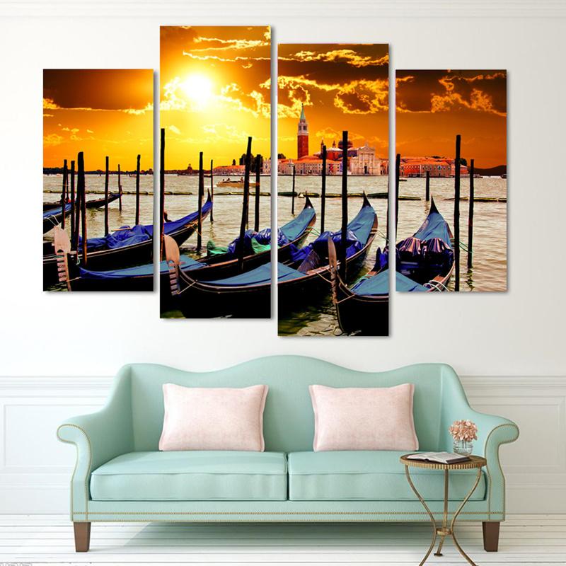 unidades decoracin venecia atardecer paisaje moderno arte de la pared de imagen hd impresin de