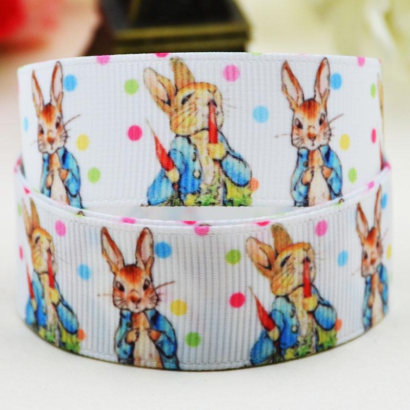 7/8 »(22 мм) Питер Кролик характер печатных Grosgrain ленты вечерние партия атласная отделка ленты X-02133 OEM 10 ярдов