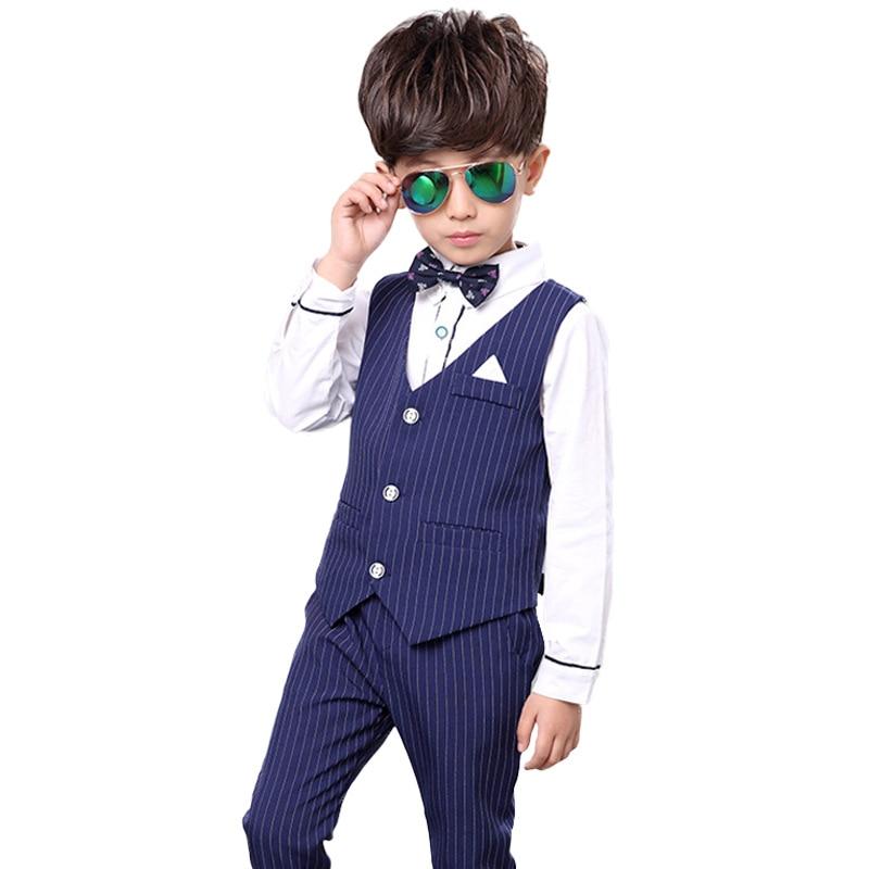 Flower Boys Formal Suits Vest Pants 2pcs School Kids Weeding Birthday Dress Children's Day Chorus Show Piano Performance Costume 3