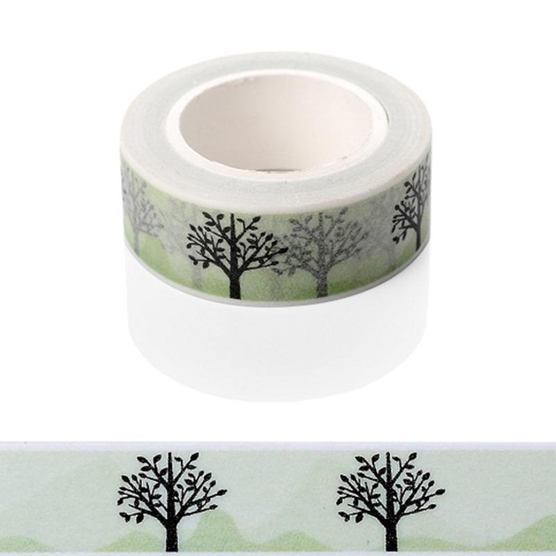 1 Pcs 15mm*5m Tree Pattern Gold Foil Printing Japanese Washi Decorative Adhesive Tape Diy Masking Tape Material Escolar
