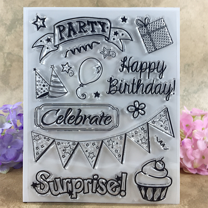 Happy Birthday Party Surprise Celebrate Scrapbook DIY photo cards account rubber stamp clear stamp transparent stamp  14*18 CM 3d laser cut pop up greeting cards happy birthday postcards vintage chic retro peacock thank you gift message cards for girl