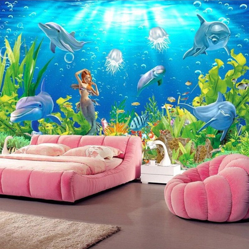 buy custom murals mermaid dolphins underwater world wall paper bedroom living. Black Bedroom Furniture Sets. Home Design Ideas