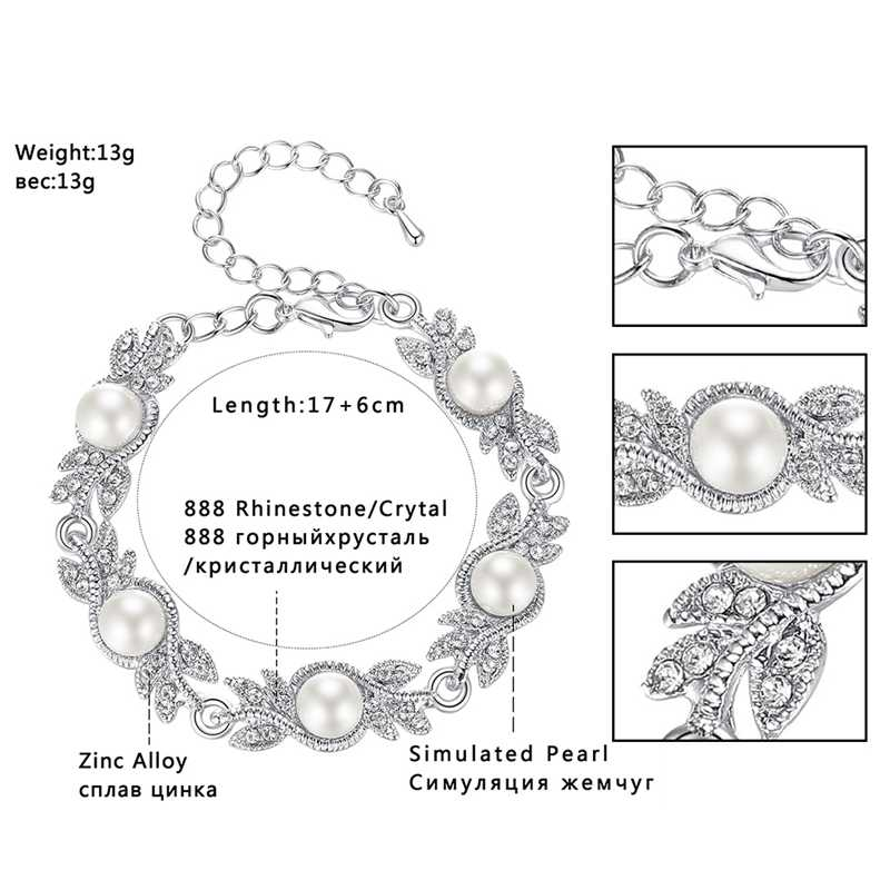 Mecresh Simulated Pearl Bracelet Earrings Sets Leaf Clear Crystal Bridal Wedding Jewelry Sets for Party Christmas EH604+MSL197