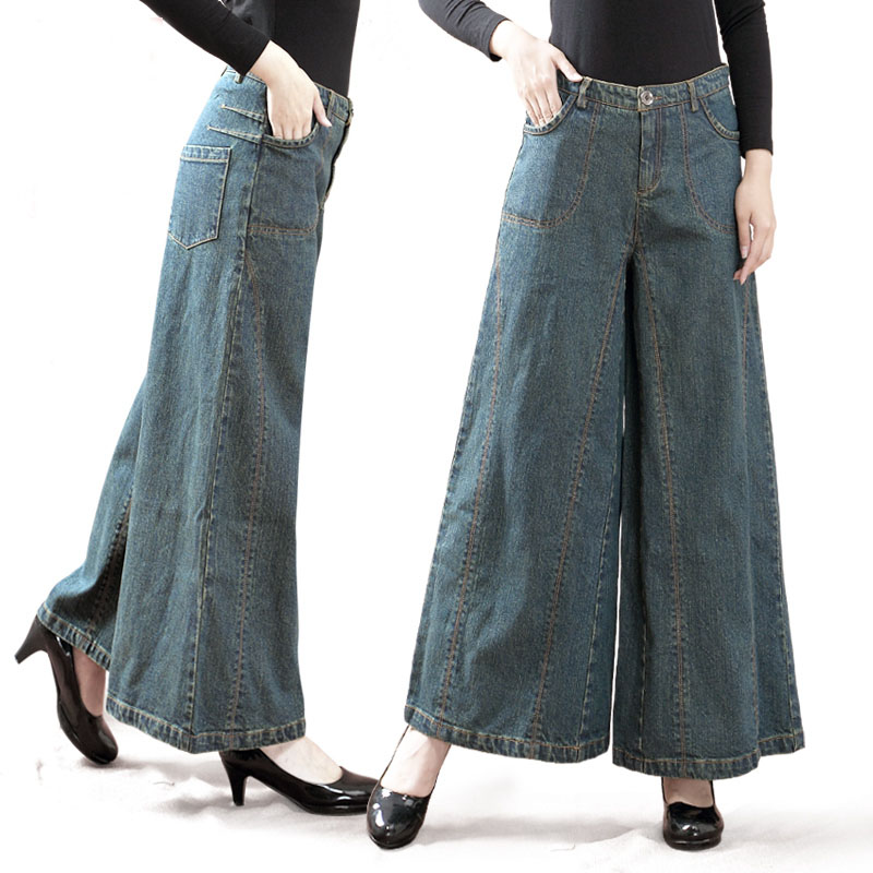 Women's Jeans High Waist Casual Loose Solid Long Denim Pants Pleated Fa