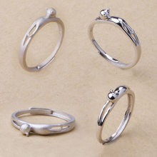 100% 925 Sterling Silver Naughty Little Cat & Heart Finger Ring for Women Sterling Silver Jewelry Gift(China)