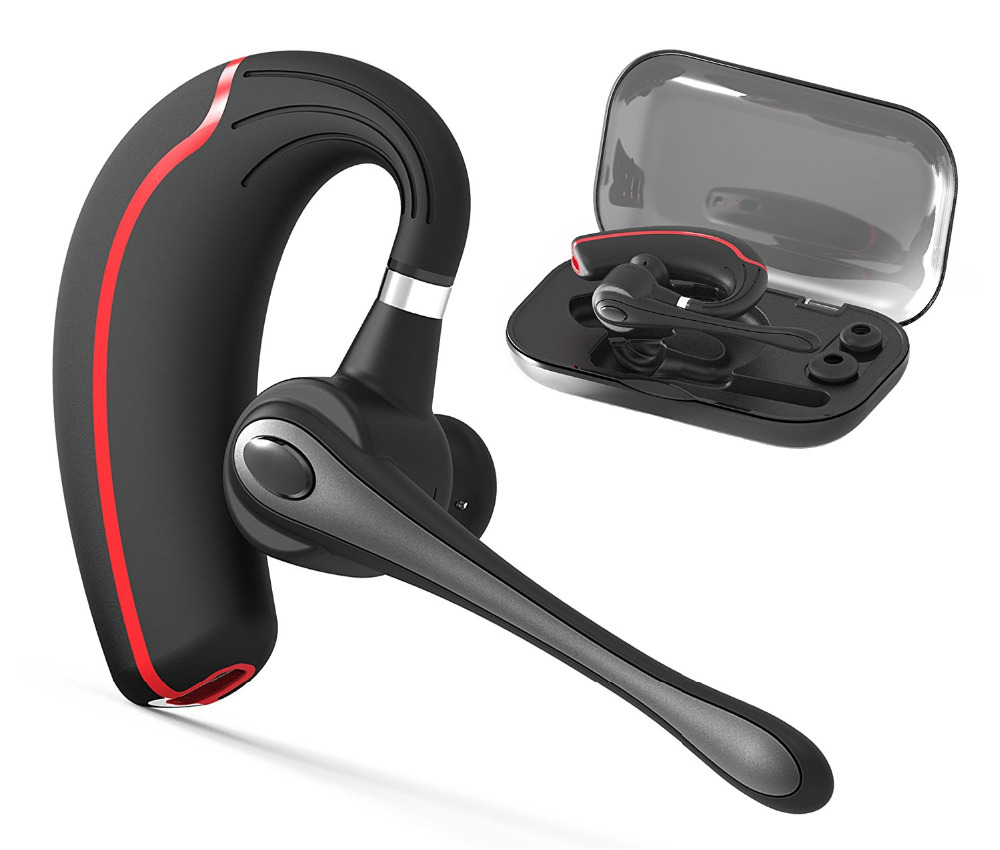 Bluetooth Headset, Wireless Bluetooth 4.1 Earpiece Headphones with Noise Reduction, Hands Free w/ Mic for Office/Business/Driver new csr8635 blutooth hands free casque bests bluetooth 4 1 wireless earpiece skype noise canceling bluetooth headset with mic