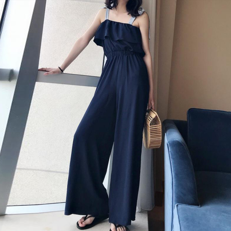 TWOTWINSTYLE Lace Up Jumpsuits Womens Off Shoulder Ruffles Tunic High Waist Maxi Wide Leg Pants Summer Fashion Holiday Clothing 2