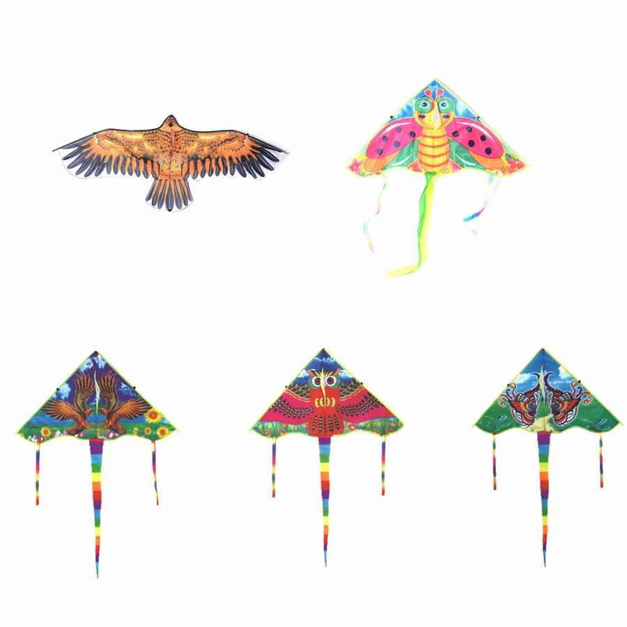 8 styles 80/90/102cm Chinese Kite Flying Dragon golden Eagle bee butterfly owl Kite With Handle Line Kite Games Bird Kite