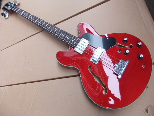 Wholesale New  ES-335 Model semi hollow body 4 string electric bass guitar in Cherry red 100714