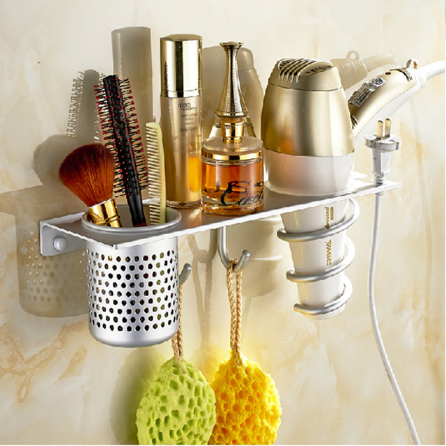 Wall Mounted Storage Holder Bathroom Holder With 2 Hooks Cup Toothpaste Hair  Dryer Storage Shelf Aluminum