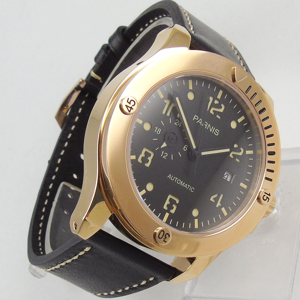 44mm Parnis Black Dial Sapphire Glass Luminous Marks Leather Rose Golden Case Luxury Brand Miyota Automatic Movement men's Watch